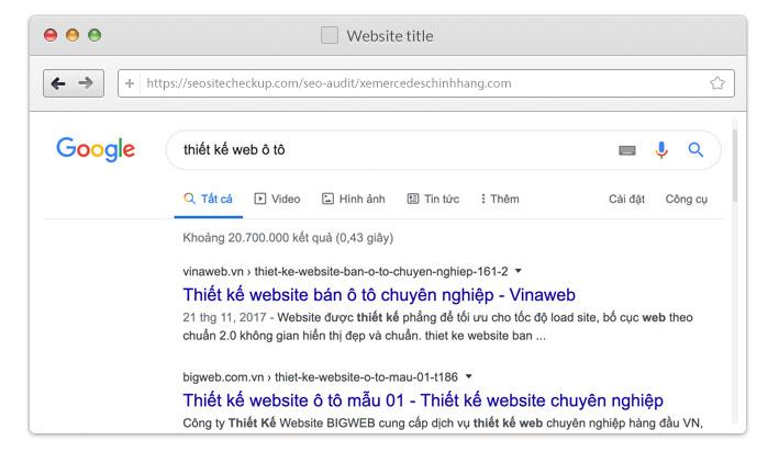 Search từ khóa Thiết kế web